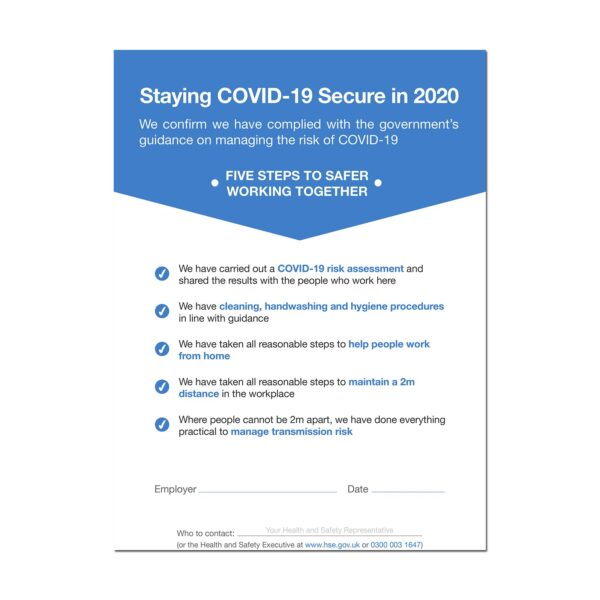 Printed Guidance Document - Staying COVID-19 Secure in 2020 A4 Poster 3