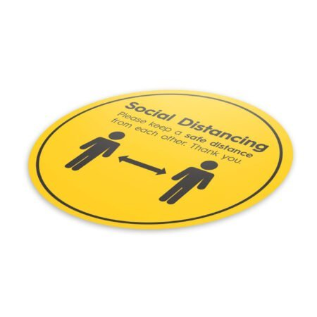 Hazard Social Distance - 4 Pack Square Floor Stickers 6