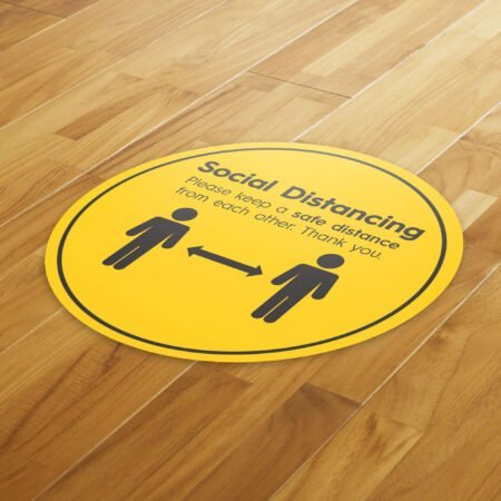 Hazard Social Distance - 4 Pack Square Floor Stickers 8