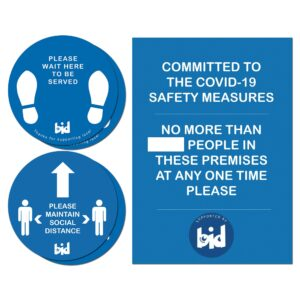 Barrow Bid – Social Distance Pack 4 Floor Sticker & A4 Poster – Covid 19 Safety Pack