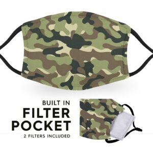 Jungle Camo – Reusable Adult Face Masks – 2 Filters Included