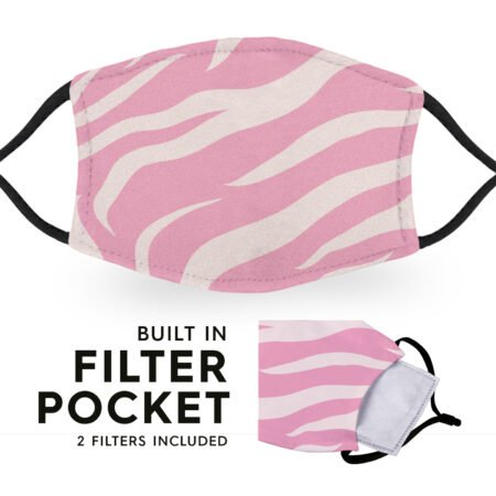 Pink Tiger Print - Reusable Adult Face Masks - 2 Filters Included 6