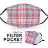 Pink Madras Tartan - Reusable Adult Face Masks - 2 Filters Included 2