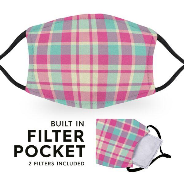 Pink Madras Tartan - Reusable Adult Face Masks - 2 Filters Included 3
