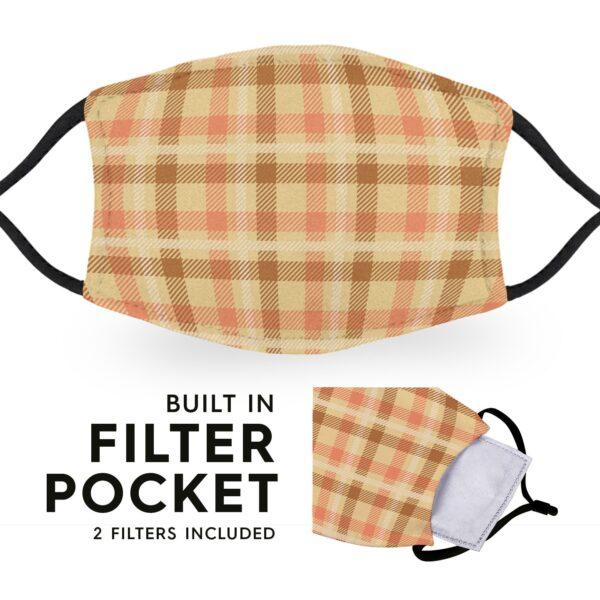 Beige Tartan - Reusable Adult Face Masks - 2 Filters Included 3