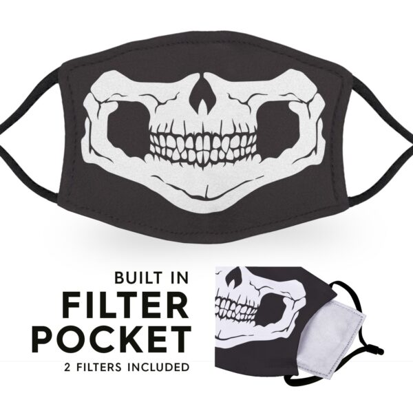Skull Face - Reusable Childrens Face Masks - 2 Filters Included 2