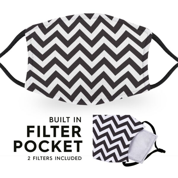 Chevron - Reusable Childrens Face Masks - 2 Filters Included 3