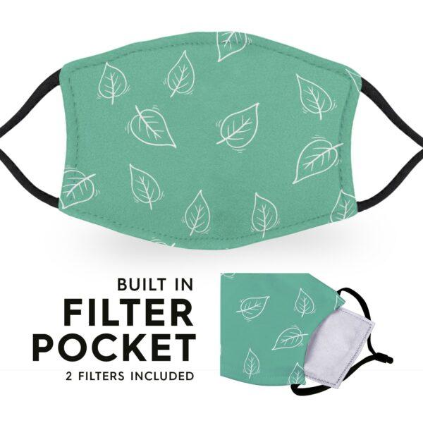 Green Leaf - Reusable Childrens Face Masks - 2 Filters Included 3