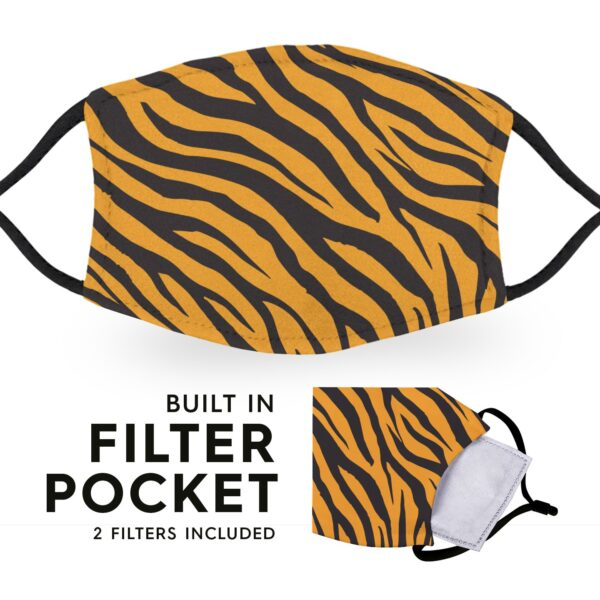 Tiger Print - Reusable Childrens Face Masks - 2 Filters Included 3