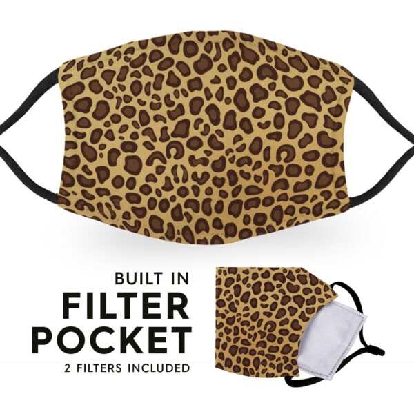 Cheetah Print - Reusable Childrens Face Masks - 2 Filters Included 3