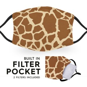 Giraffe Print – Reusable Childrens Face Masks – 2 Filters Included