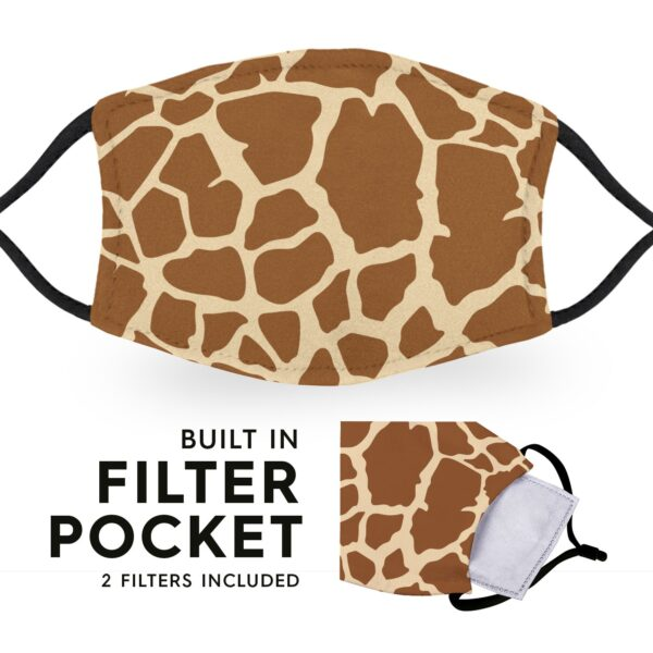 Giraffe Print - Reusable Childrens Face Masks - 2 Filters Included 6