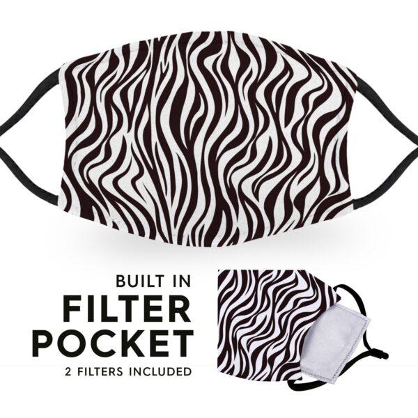 Zebra Print - Reusable Childrens Face Masks - 2 Filters Included 6