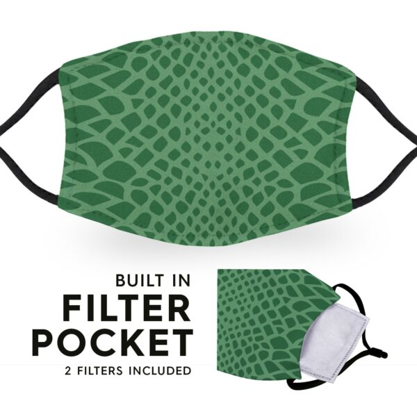 Crocodile Print - Reusable Childrens Face Masks - 2 Filters Included 3