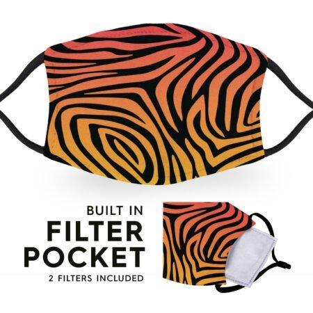 Funk Zebra Print - Reusable Childrens Face Masks - 2 Filters Included 6