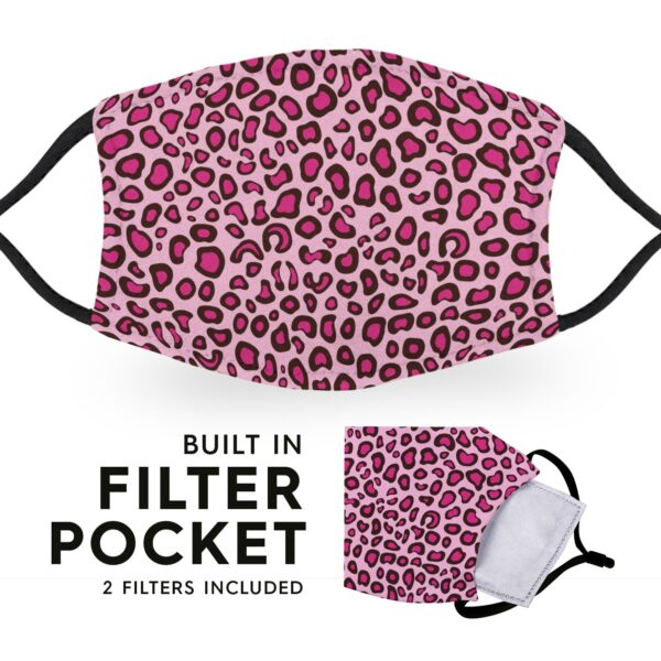 Pink Leopard Print - Reusable Childrens Face Masks - 2 Filters Included 3