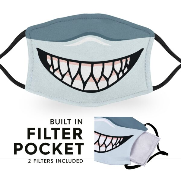 Shark Mouth - Reusable Childrens Face Masks - 2 Filters Included 3