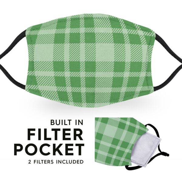 Green Tartan - Reusable Childrens Face Masks - 2 Filters Included 6