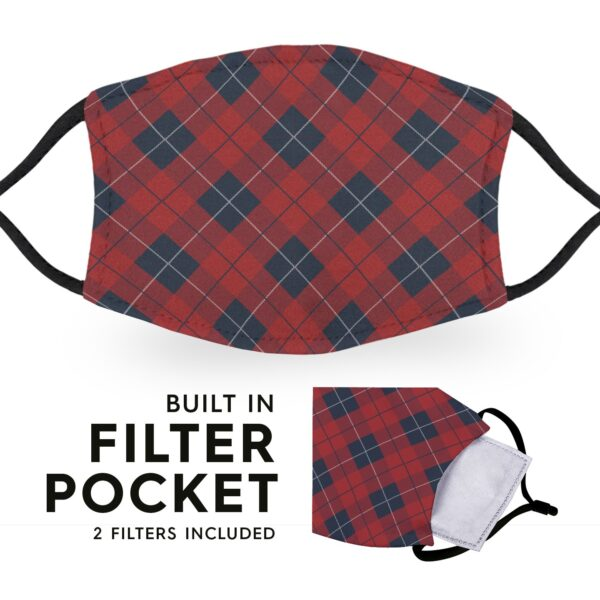 Red Diamond Tartan - Reusable Childrens Face Masks - 2 Filters Included 3