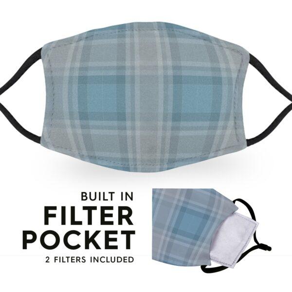 Blue Grey Tartan - Reusable Childrens Face Masks - 2 Filters Included 3