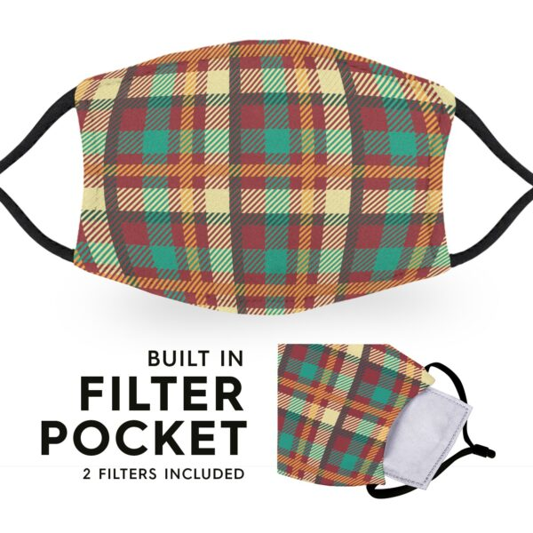 Madras Tartan - Reusable Childrens Face Masks - 2 Filters Included 3