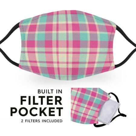 Pink Madras Tartan - Reusable Childrens Face Masks - 2 Filters Included 6