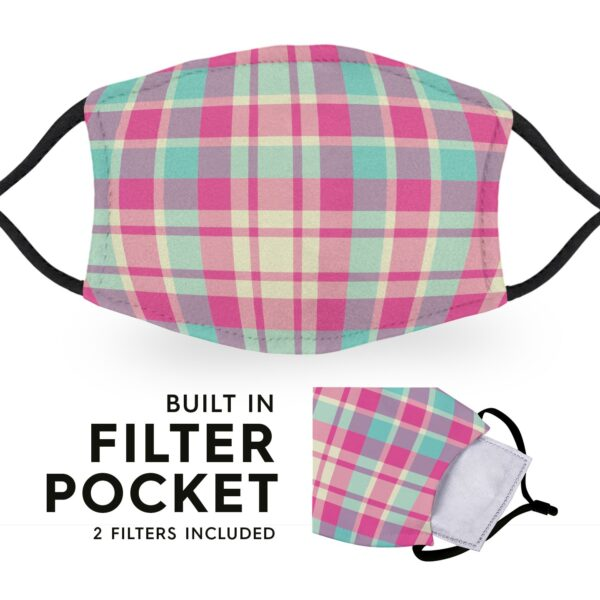 Pink Madras Tartan - Reusable Childrens Face Masks - 2 Filters Included 3