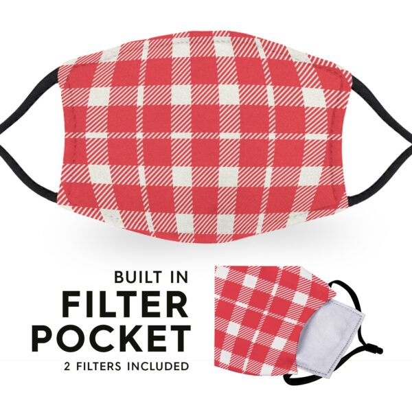 Red White Tartan - Reusable Childrens Face Masks - 2 Filters Included 3
