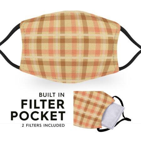 Beige Tartan - Reusable Childrens Face Masks - 2 Filters Included 6
