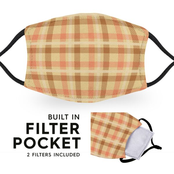 Beige Tartan - Reusable Childrens Face Masks - 2 Filters Included 3