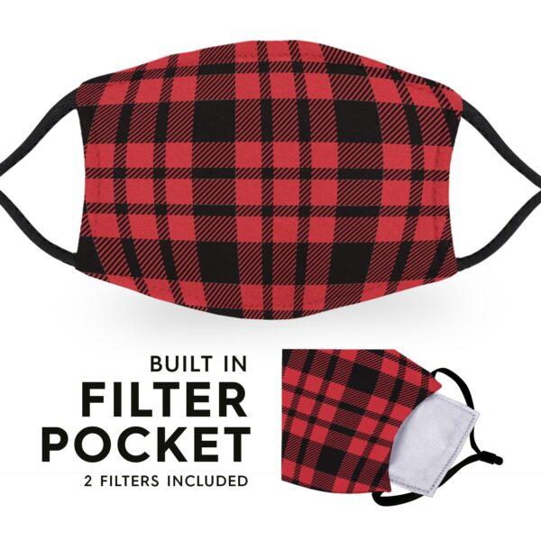 Black Red Tartan - Reusable Childrens Face Masks - 2 Filters Included 3
