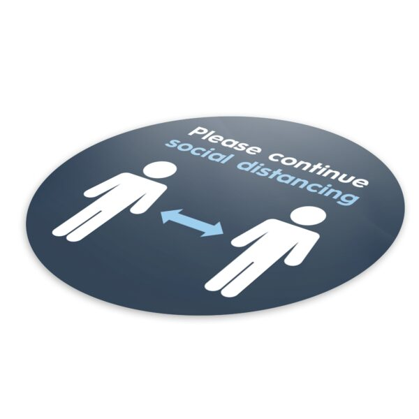 Blue Social Distancing - 4 Pack Square Floor Stickers 6