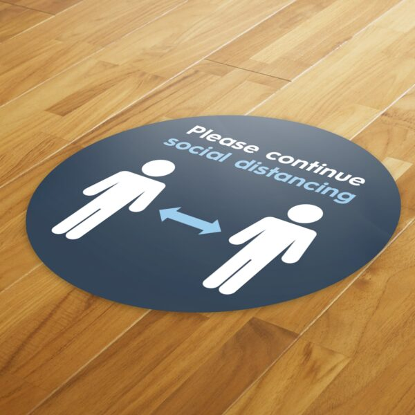 Blue Social Distancing - 4 Pack Square Floor Stickers 8