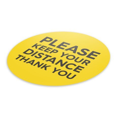 Yellow Social Distancing - 4 Pack Square Floor Stickers 6