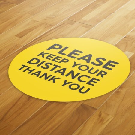 Yellow Social Distancing - 4 Pack Square Floor Stickers 8