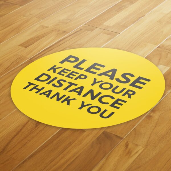 Yellow Social Distancing - 4 Pack Square Floor Stickers 4