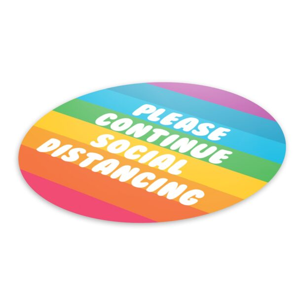 Rainbow Social Distancing - 4 Pack Square Floor Stickers 3