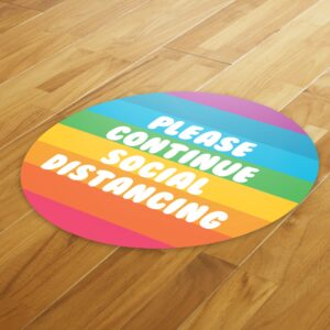 Rainbow Social Distancing – 4 Pack Square Floor Stickers