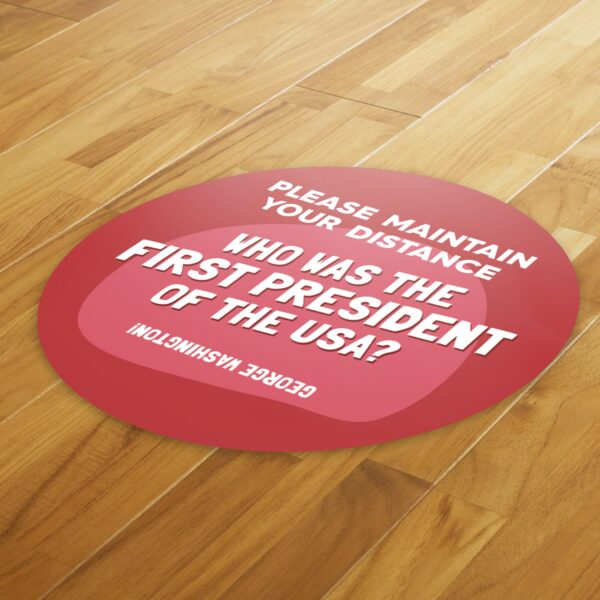 Fun Fact 2 Social Distancing - 4 Pack Square Floor Stickers 8