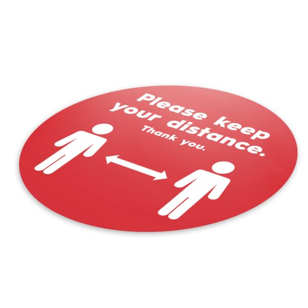 Red Social Distancing - 4 Pack Square Floor Stickers 6