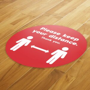 Red Social Distancing – 4 Pack Square Floor Stickers