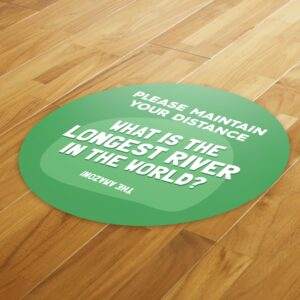 Fun Fact 3 Social Distancing – 4 Pack Square Floor Stickers