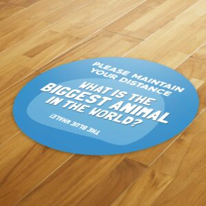Fun Fact 5 Social Distancing – 4 Pack Square Floor Stickers