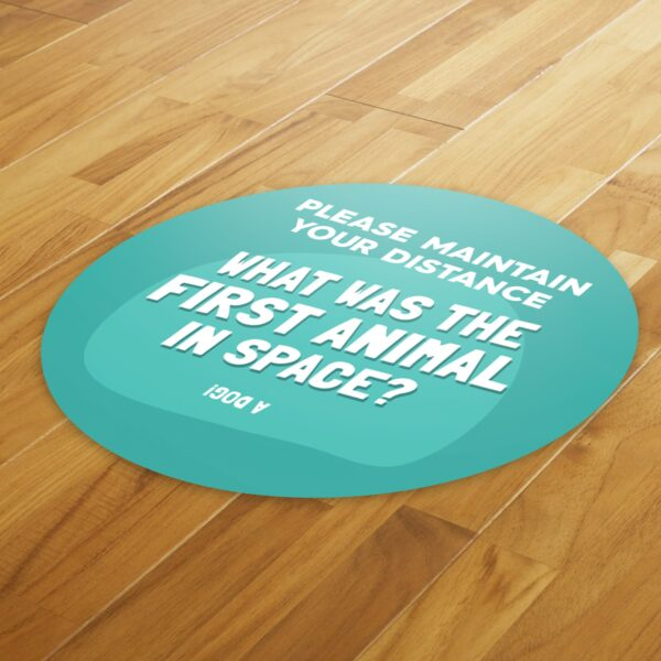 Fun Fact 6 Social Distancing - 4 Pack Square Floor Stickers 4