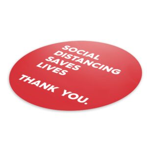 Red Thank You Social Distance – 4 Pack Square Floor Stickers