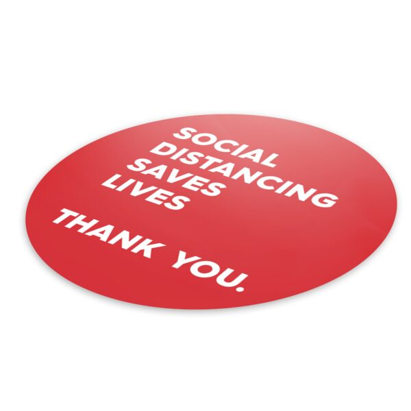 Red Thank You Social Distance - 4 Pack Square Floor Stickers 6
