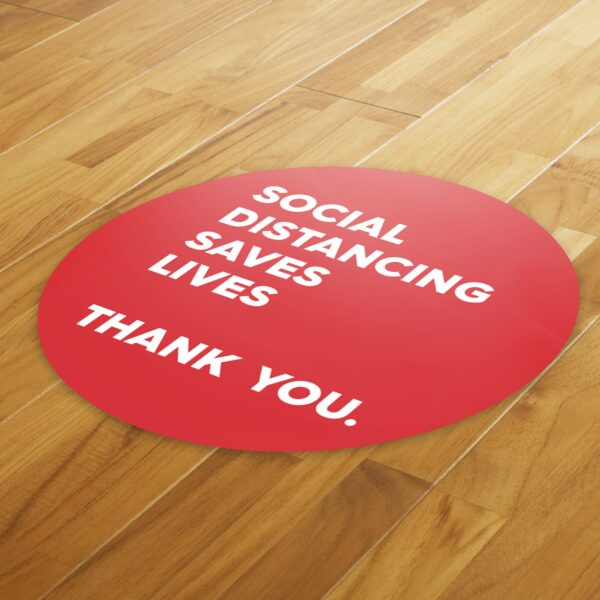Red Thank You Social Distance - 4 Pack Square Floor Stickers 8