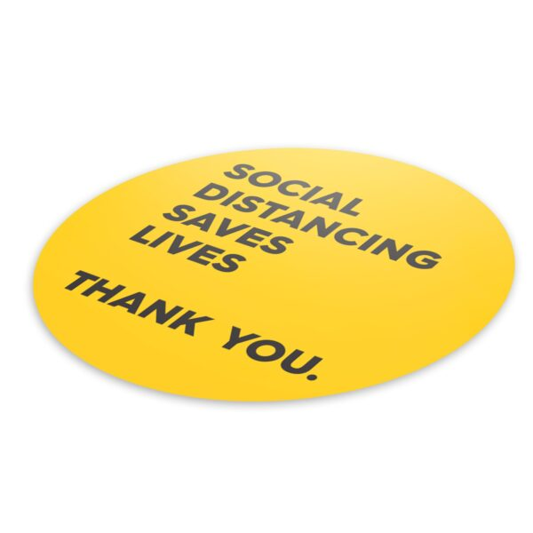 Yellow Thank You Social Distance - 4 Pack Square Floor Stickers 3