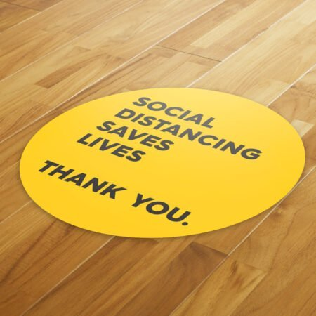 Yellow Thank You Social Distance - 4 Pack Square Floor Stickers 8