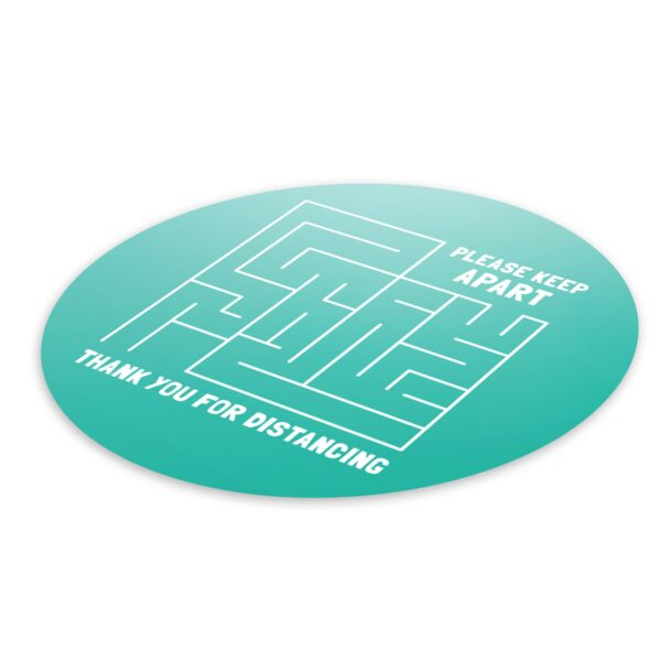 Maze Social Distance - 4 Pack Square Floor Stickers 3
